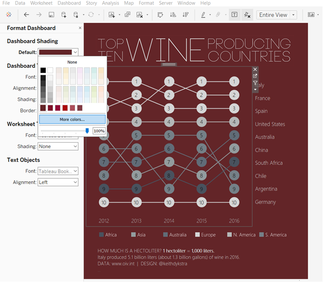 Tableau - Format Dashboard - More Colors... - Shading