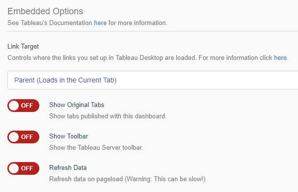 Portals for Tableau - Embedded Options
