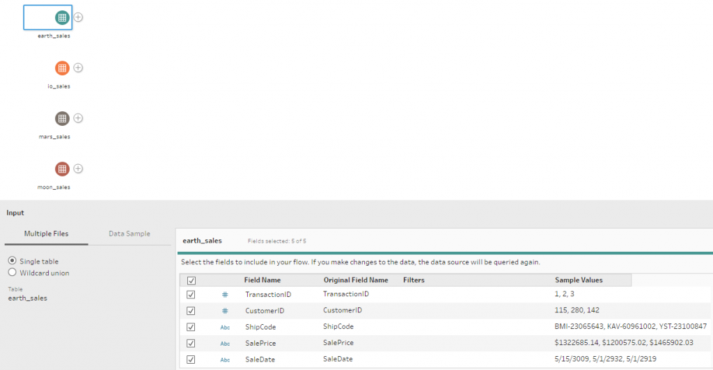 Tableau Prep - Standardized Files in Flow