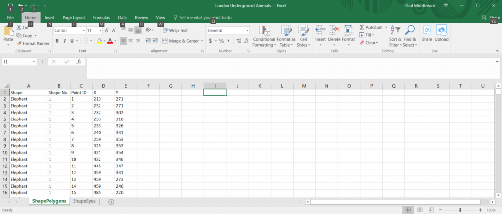 Point Data in Excel
