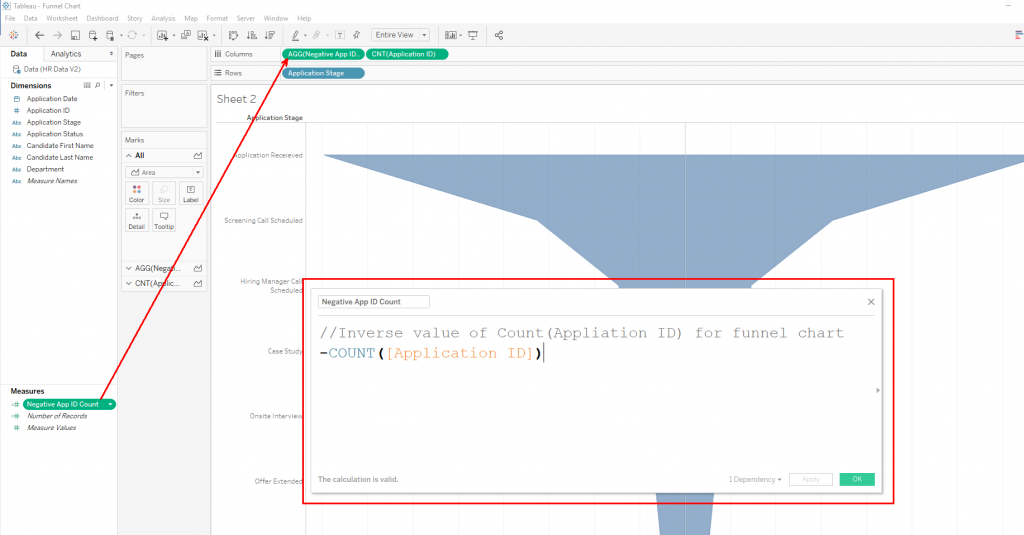 Tableau Funnel Charts: Create Calculated Field