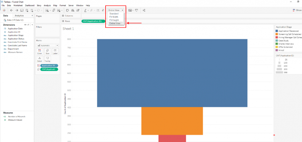 Tableau Funnel Charts: Change View