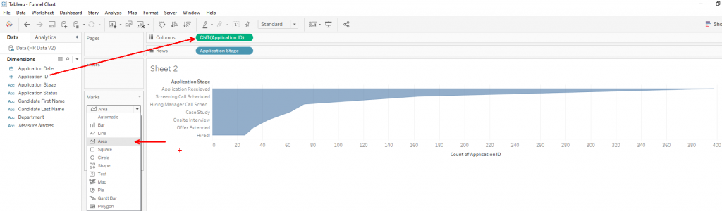 Tableau Funnel Charts: Drag Fields to Columns, Change to Area Line