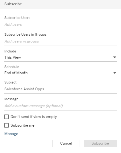 Subscribe Options in Tableau Server