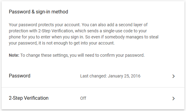 Gmail Password Settings
