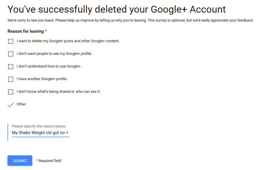 Deleting Google+