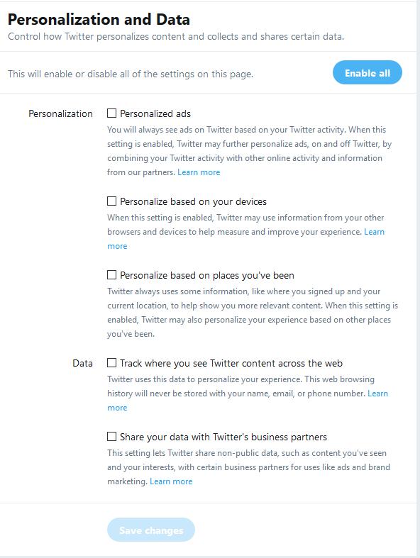 Twitter Personalization and Data