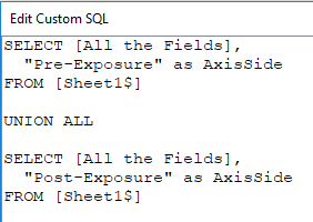 SQL Union in Tableau