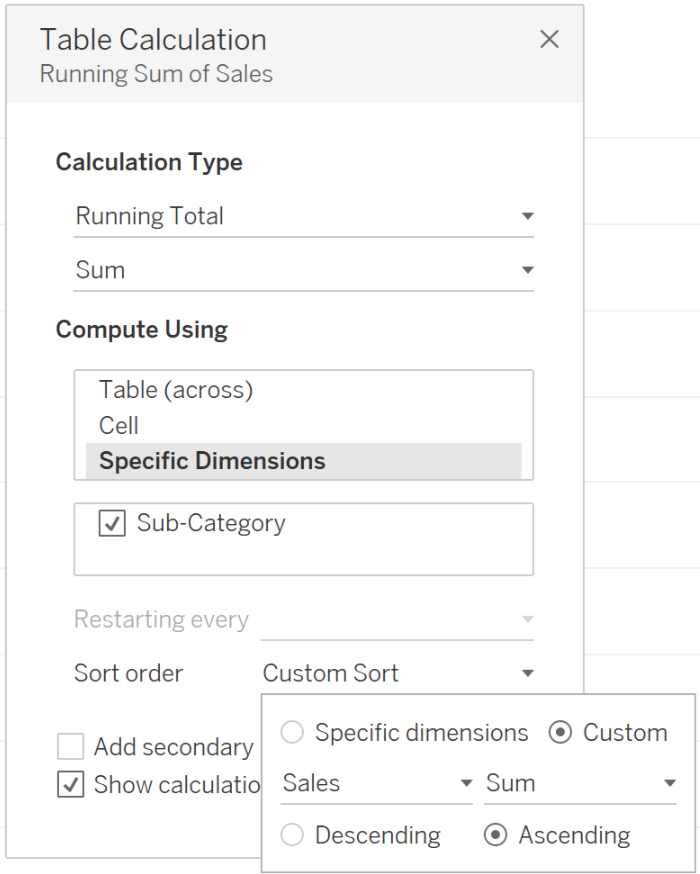 Tableau Calculation: Specific Dimensions