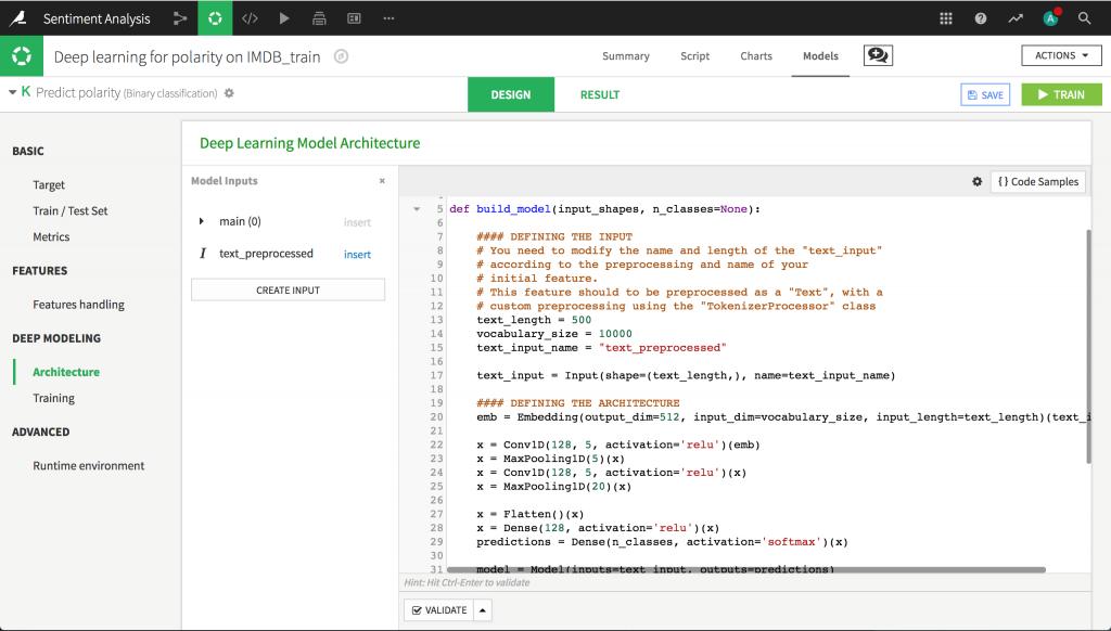 Dataiku 5.0: Deep Learning Models