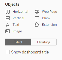Objects Menu in Tableau