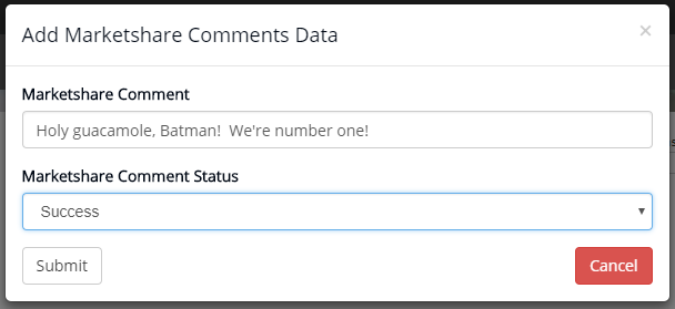Add Marketshare Comments Data