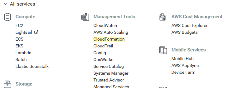 AWS account CloudFormation navigation