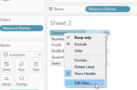 edit aliases in Tableau