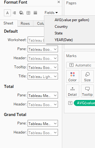 formatting individual fields in Tableau
