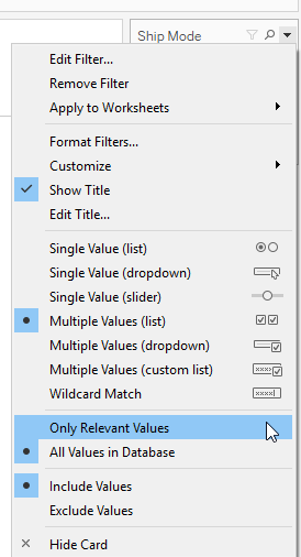 Advance with Assist only relevant values option for filters