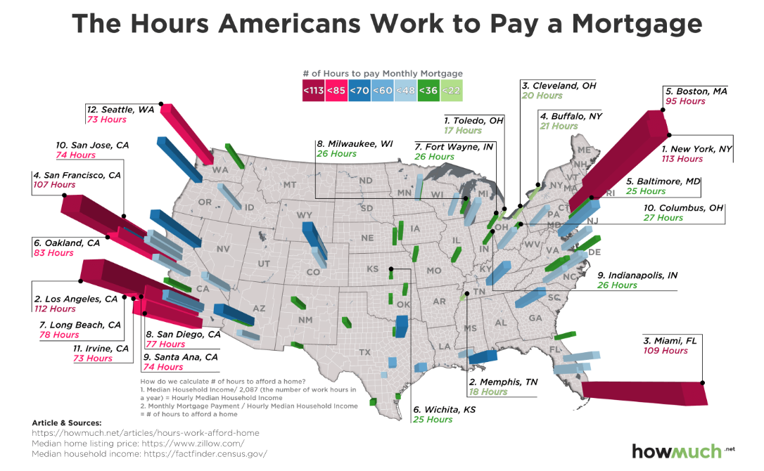 map of hours worked to pay a mortgage