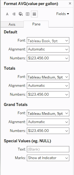 format pane options in Tableau