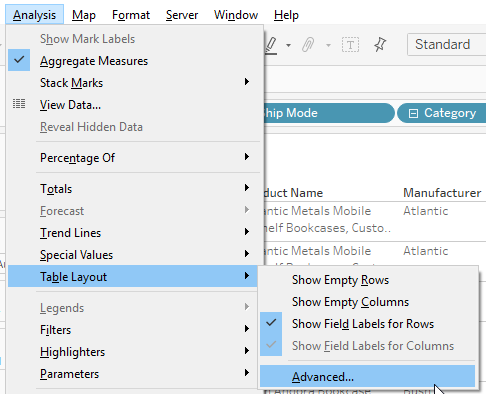 table layout navigation in Tableau