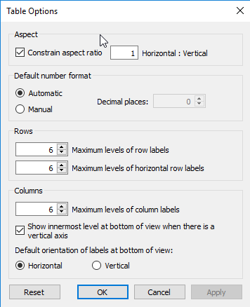 table options in Tableau