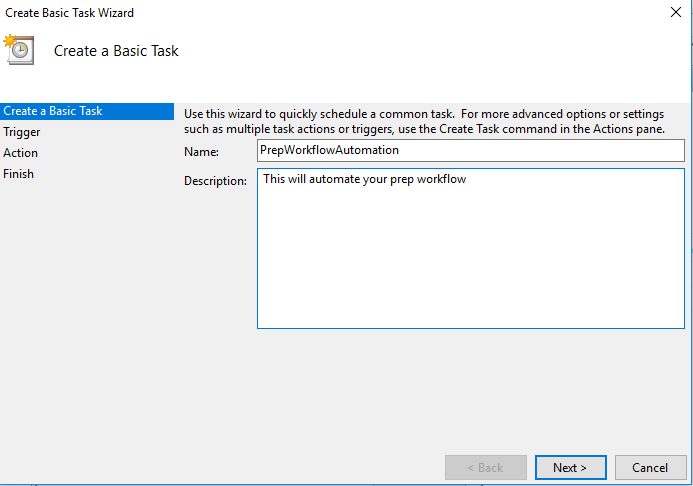 basic task description in task scheduler