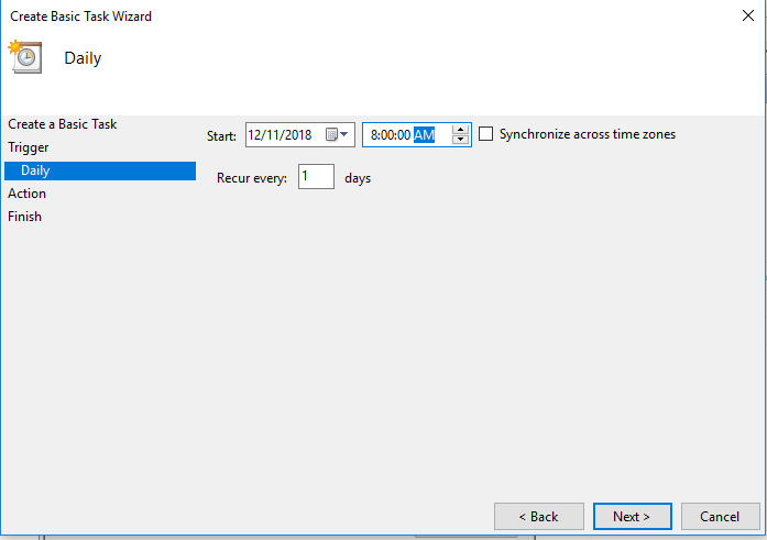 basic task in task scheduler time of day trigger