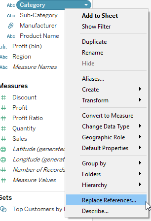 replace references in Tableau