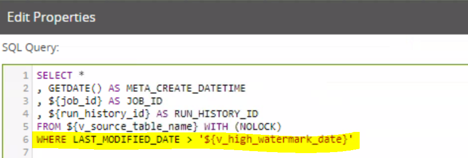 variable v_high_watermark_date filtering