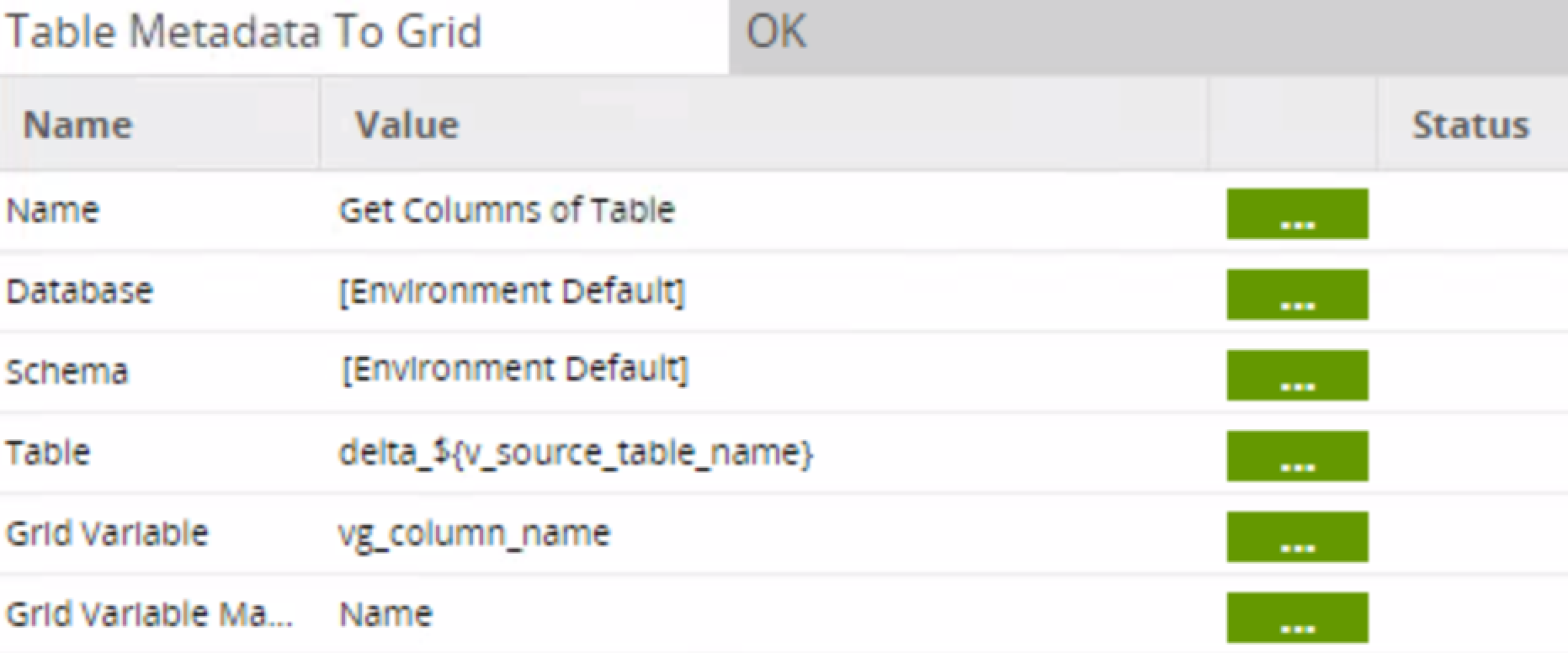 table metadata to grid in Matillion