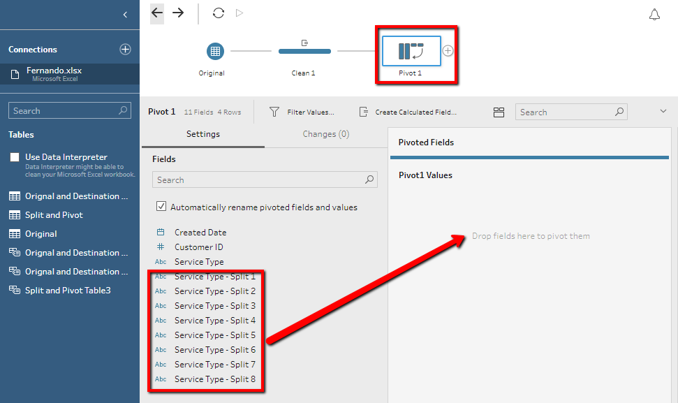 removing the Split columns in Tableau Prep