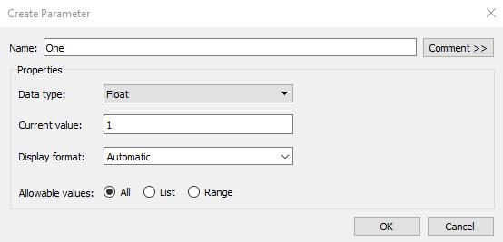 default parameter settings in Tableau