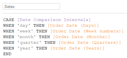 data comparison intervals in Tableau
