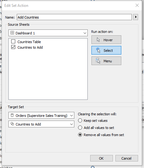 creating a set action in Tableau