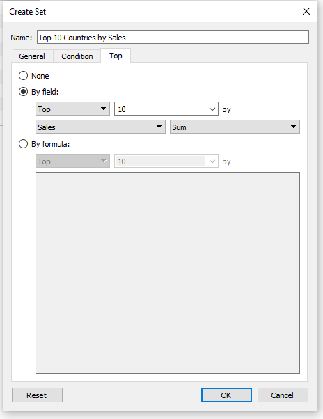 creating a set in Tableau