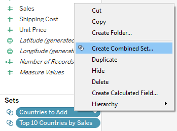 create a combined set in Tableau