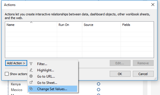 adding a change set values action in Tableau