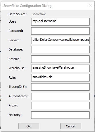 relevant fields to add a user DSN