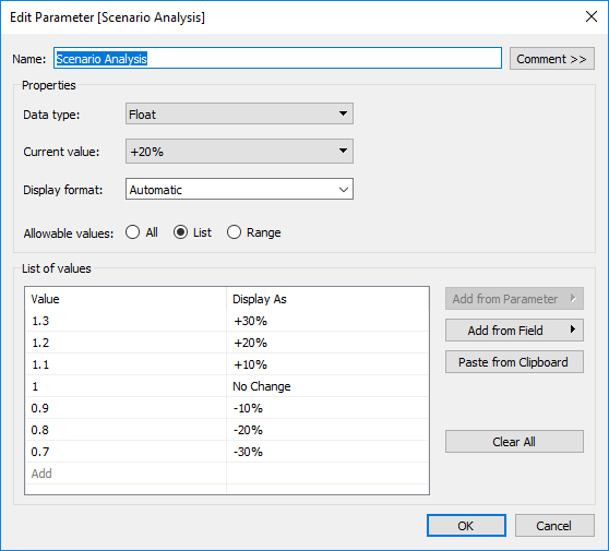 edit parameter in Tableau