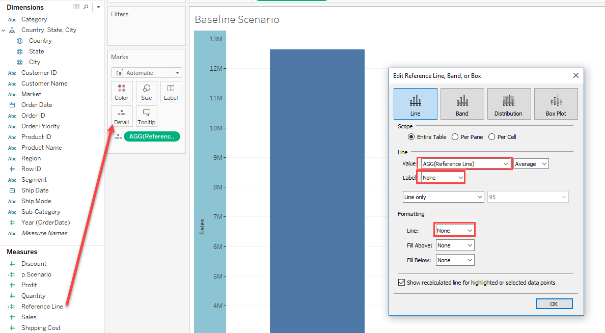 reference line calculated field in Tableau