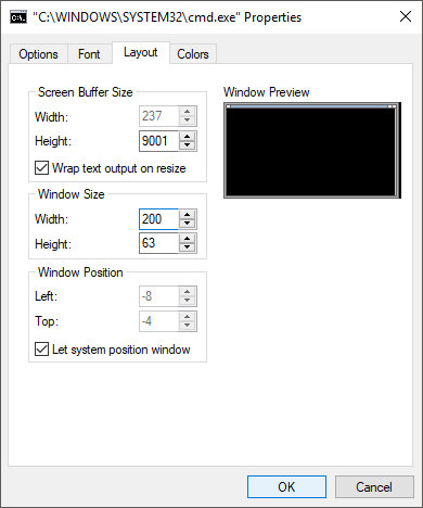 adjusting window width in PowerShell
