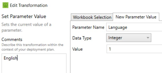 new parameter value when editing transformation