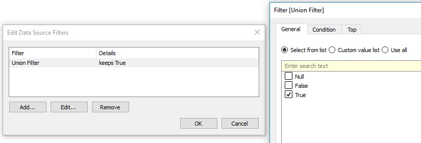 data source filter in Tableau
