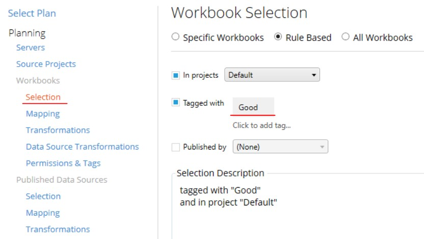 workbook selection in Tableau