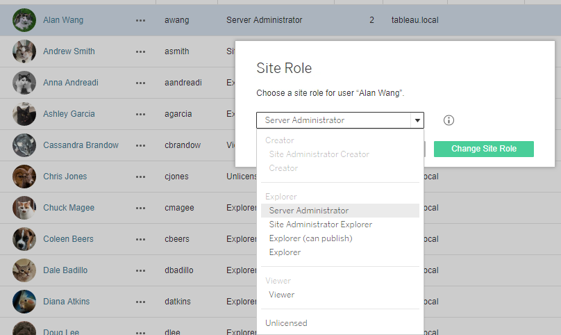 site role updates in Tableau Server