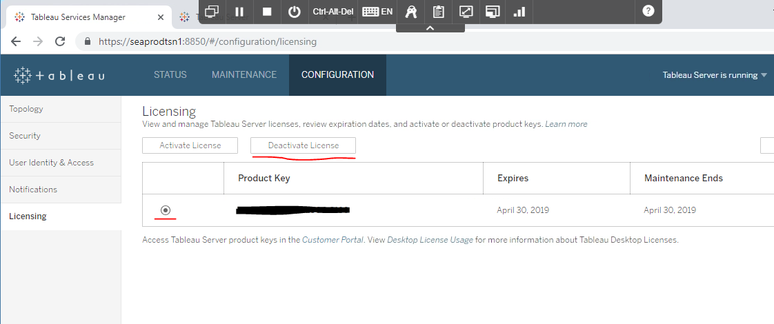 licensing in Tableau Server upgrade