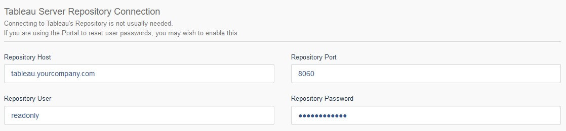 Portals Tableau Server Repository Connection