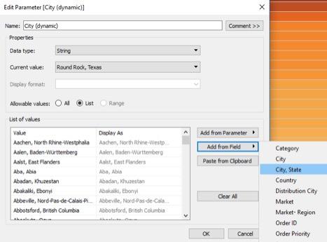 edit dynamic parameter in Tableau