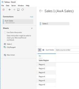 connecting from Tableau to Excel