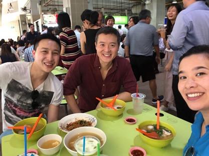 Mavis and Jia at a Singapore market