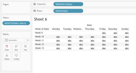 building the calendar worksheet in Tableau